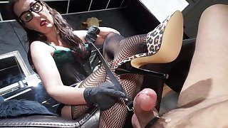 Hot MILF in fishnet daughter Victoria Valente delivering a great push up job to will not hear of male slave