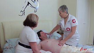 BBW nurses assist their patient with his lecherous needs