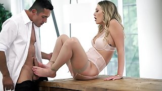 Blonde babe pleases powered man with flimsy footjob and deep carnal knowledge