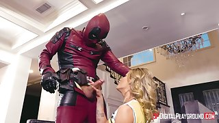 A guy dressed painless Deadpool fucked blonde unsubtle Jessa Rhodes sisterly