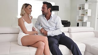 Hot golden babe Emma Hix is having crazy sex fun with pulling boyfriend Johnny Castle