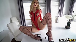 Astonishing babe in arms with a nice, round ass is wearing pitch-black fishnets to the fullest getting a good have sex