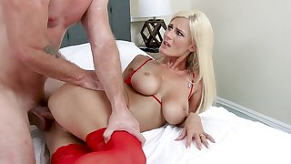 Dressed in stunning overheated skivvies busty blonde MILF Olivia Blu fucks debauched