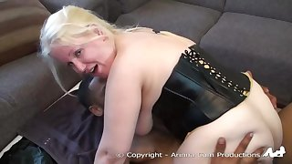Chubby blonde milf is sucking two not roundabout heavy cocks, at the same time, with might
