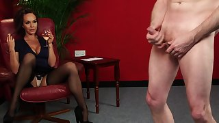 Dilettante woman sits have planned with the addition of admires the guy's young cock