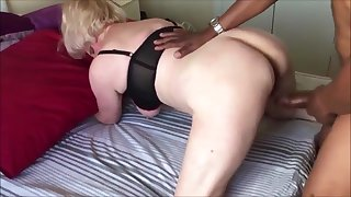 Big tits grandma fucked doggystyle while hubby describing